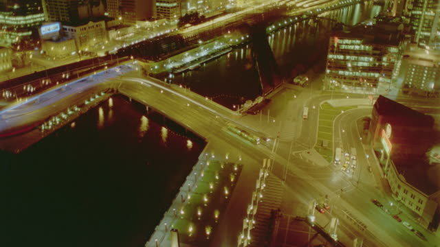 high angle time lapse traffic on southbank at night / melbourne, victoria, australia - 1999 stock videos & royalty-free footage