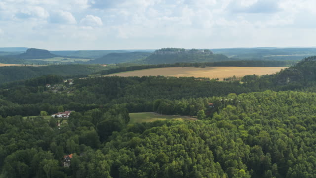 high angle tl view: saxon switzerland in germany - saxony stock videos & royalty-free footage