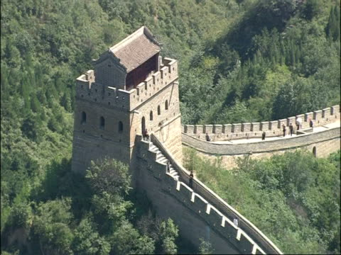 high angle tower on great wall of china, badaling, china - badaling great wall stock videos & royalty-free footage