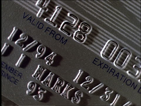 high angle turning extreme close up of credit card
