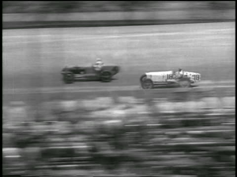 b/w 1933 high angle pan two cars racing in indianapolis 500 - 1933 stock videos & royalty-free footage