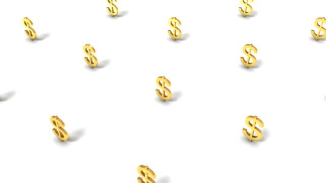 vídeos de stock, filmes e b-roll de high angle up from single dollar sign revealing many - símbolo de moeda