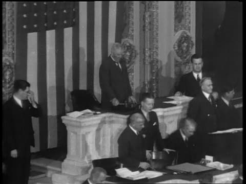 B/W 1933 high angle Vice President Garner hitting gavel / House of Reps repealing prohibition