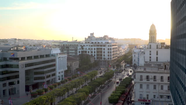 high angle view across tunis, tunisia - tunisia video stock e b–roll
