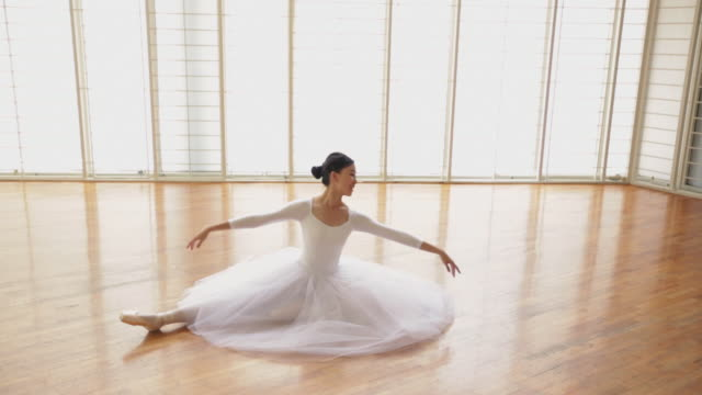 ms high angle view, ballerina dancing. - ballet dancer stock videos & royalty-free footage