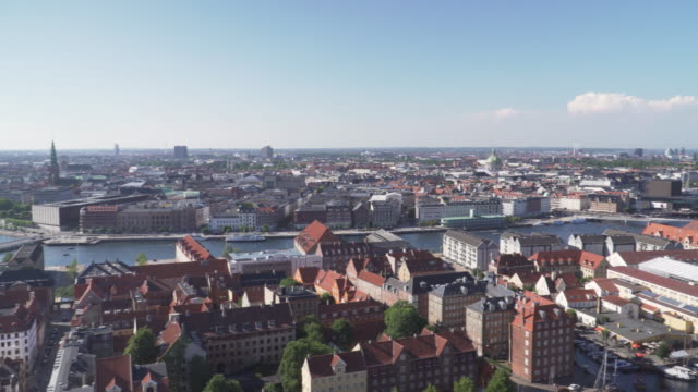 high angle view: copenhagen city from view point on church of our saviour, denmark - copenhagen stock videos & royalty-free footage