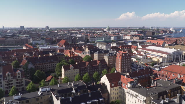 high angle view: copenhagen city from view point on church of our saviour, denmark - denmark stock videos & royalty-free footage