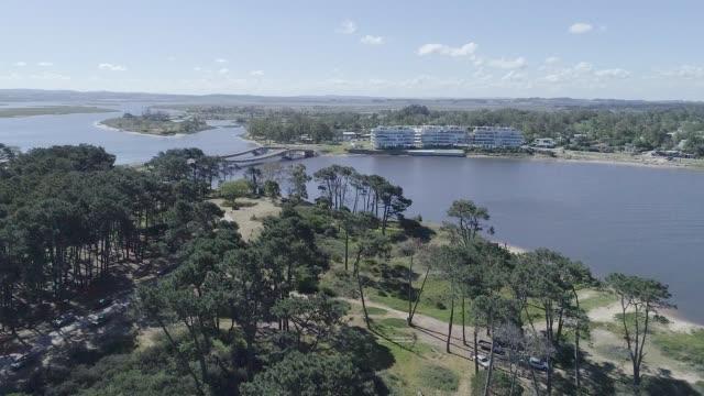 High angle view, drone point of view, view of La Barra Bridge, Punta del Este city, Uruguay