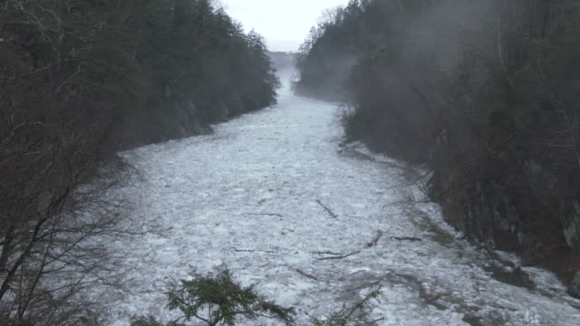 High angle view from Lover's Leap Bridge in New Milford Connecticut of a major ice jam along the Housatonic River
