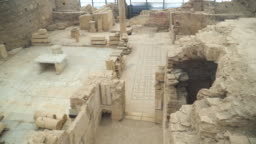 high angle view: inside of Terrace stone Houses, a residential building made of marble, Selçuk, Turkey, in ancient Roman building or ancient Greek city, in Ephesus, Anatolia. Concept of an ancient civilization in antique city.