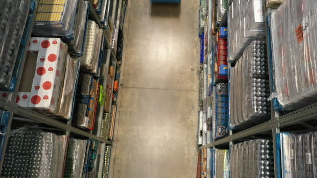 high angle view of a forklift truck in a supermarket warehouse - shape stock videos & royalty-free footage