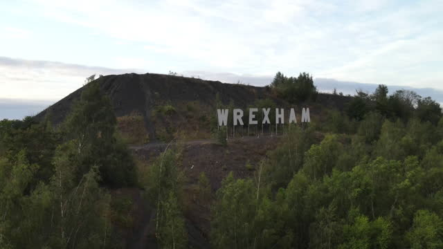 high angle view of a hollywood-style sign in wrexham - capital letter stock videos & royalty-free footage