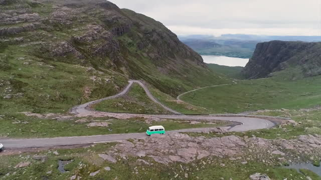 high angle view of a mountain road - winding road stock videos & royalty-free footage
