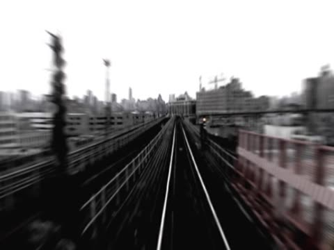 high angle view of a railroad track - 乗り物の明かり点の映像素材/bロール