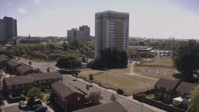 high angle view of a residential district in liverpool - shape stock videos & royalty-free footage