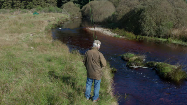 high angle view of a senior man on riverbank with a fly fishing rod - galloway scotland stock videos & royalty-free footage