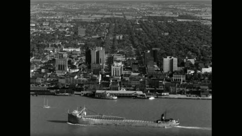 high angle view of across detroit river of windsor, ontario, canada - ontario canada stock videos & royalty-free footage