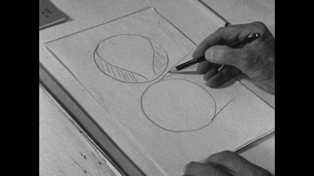 high angle view of barnes wallis' hand drawing spherical shapes as a diagram on a paper pad; 1967. - information equipment stock videos & royalty-free footage
