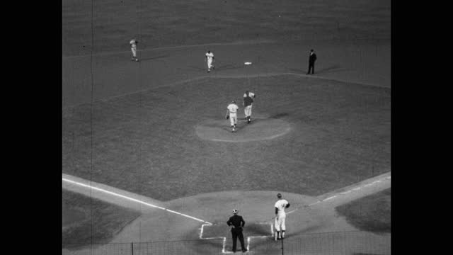 high angle view of baseball players playing game on baseball field, dodger stadium, los angeles, california, usa - medium group of people stock videos & royalty-free footage