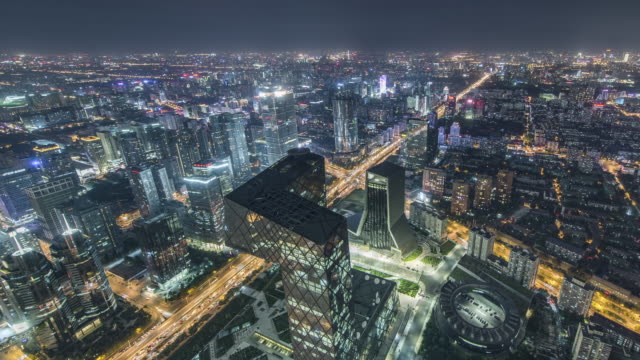 t/l ws ha td high angle view of beijing skyline at night / beijing, china - cycle vehicle stock videos and b-roll footage