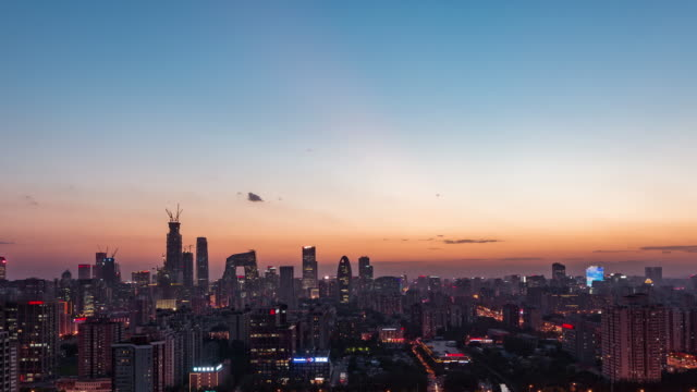 T/L WS HA TD High Angle View of Beijing Skyline, crépuscule à Transition de nuit