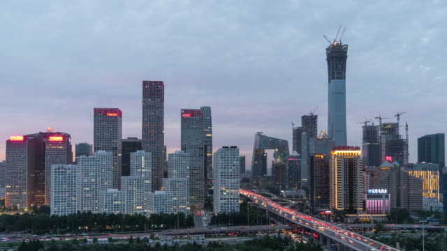 T/L TD High Angle View of Beijing Skyline, Dusk to Night Transition