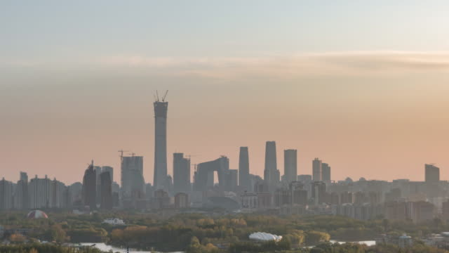 T/L TU High Angle View of Beijing Skyline, from Day to Sunset