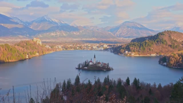 High angle view of Bled Slovenia