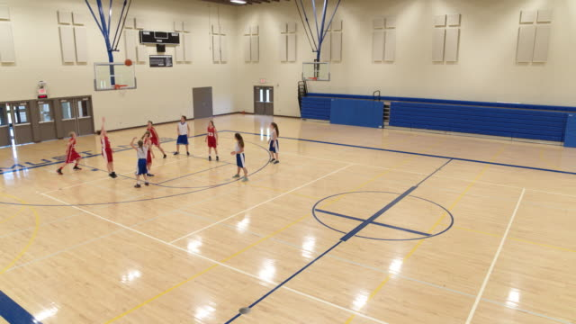High angle view of blue team making a shot