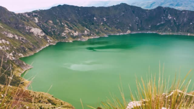 high angle view of caldera quilotoa - caldera stock videos and b-roll footage