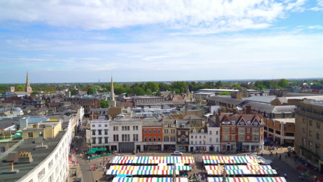 high angle view of cambridge city, uk - chapel stock videos & royalty-free footage