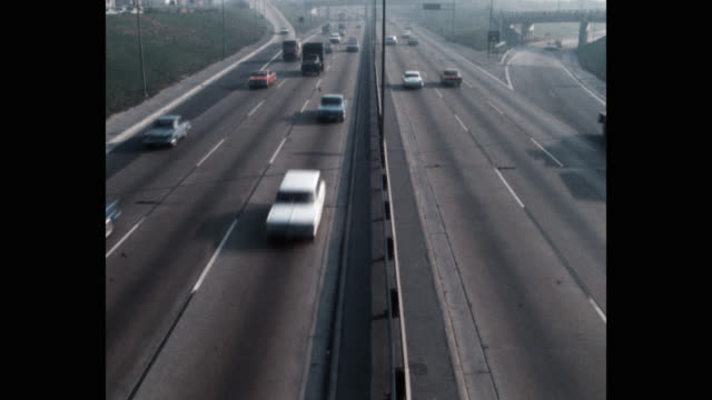high angle view of cars driving on highway - dividing line stock videos & royalty-free footage