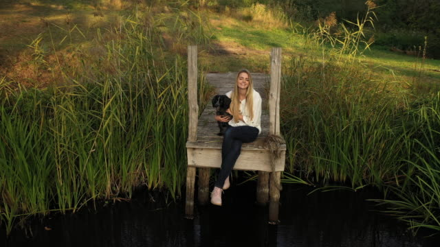 high angle view of caucasian woman with dog on rural dock - reed grass family stock videos & royalty-free footage