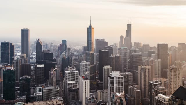 t/l pan high angle view of chicago skyline at sunset - willis tower stock videos & royalty-free footage