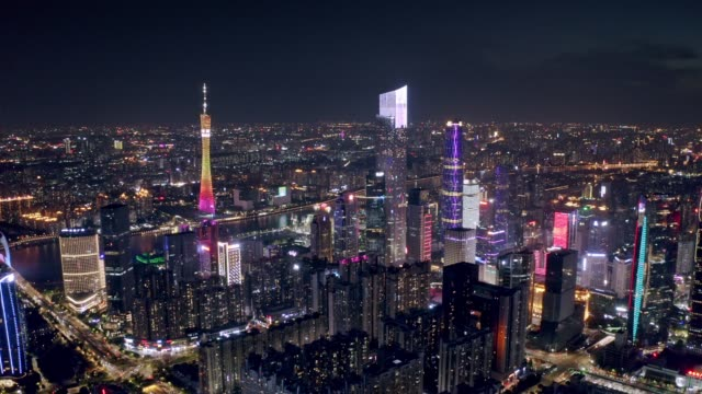 high angle view of city sunset - guangzhou stock videos & royalty-free footage