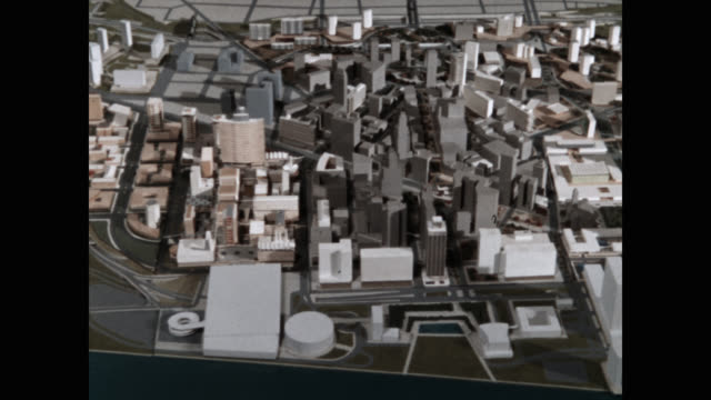 high angle view of cityscape model - planning stock videos & royalty-free footage