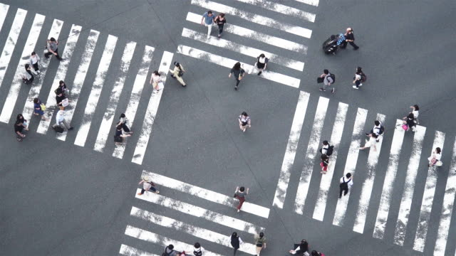 slo mo high angle view of crossing in ginza at night in tokyo, japan. - pedestrian stock videos & royalty-free footage