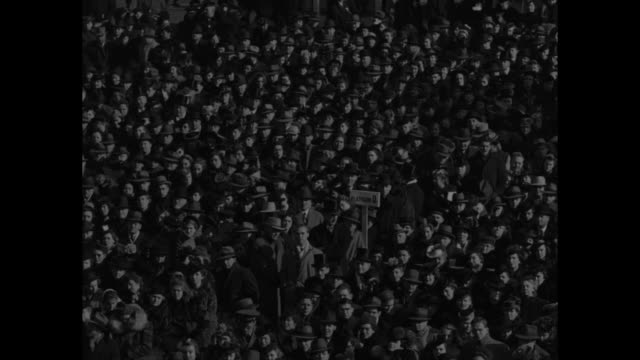 ws high angle view of crowd listening to third inaugural speech of president franklin d roosevelt / pan from news photographers to us secretary of... - cordell hull stock videos and b-roll footage