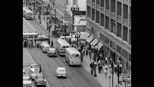 high angle view of crowded street in city, rochester, new york state, usa - 1950 stock videos & royalty-free footage