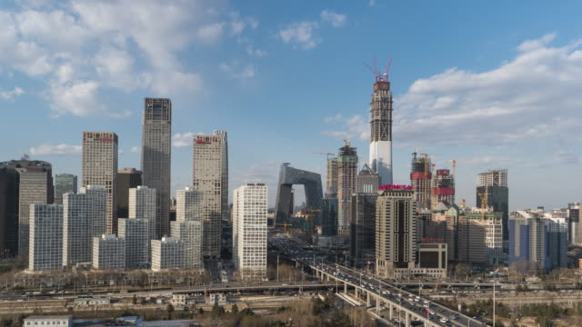 t/l ws ha pan high angle view of downtown beijing / beijing, china - international landmark stock videos & royalty-free footage