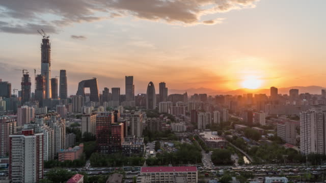 T/L WS HA PAN High Angle View of Downtown Beijing, Day / Beijing, China