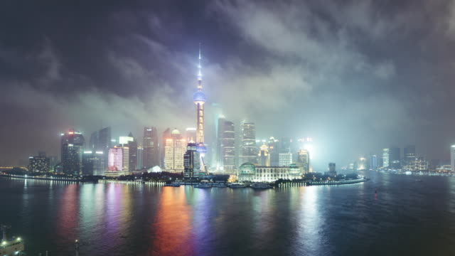t/l ws ha zi high angle view of  downtown shanghai at night / shanghai, china - prosperity stock videos & royalty-free footage