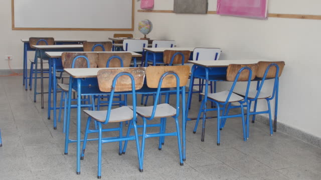 high angle view of empty elementary classroom - chair stock videos & royalty-free footage