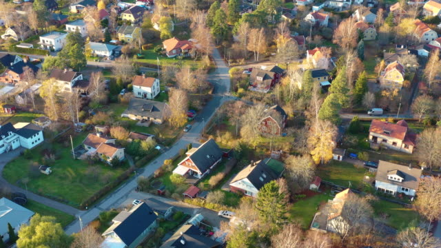 high angle view of fall villa area. - geographical locations stock videos & royalty-free footage