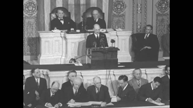 high angle view of floor of the us house of representatives; applause as british delegation including british prime minister clement atlee proceeds... - oahu stock videos & royalty-free footage