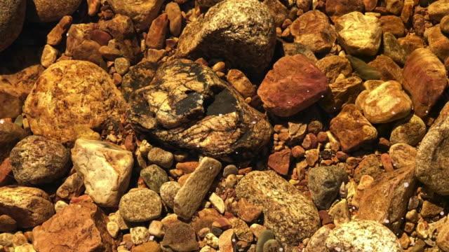 hög vinkel visa av färska transparent flödande vatten ström med vackra klippor - kiselsten bildbanksvideor och videomaterial från bakom kulisserna