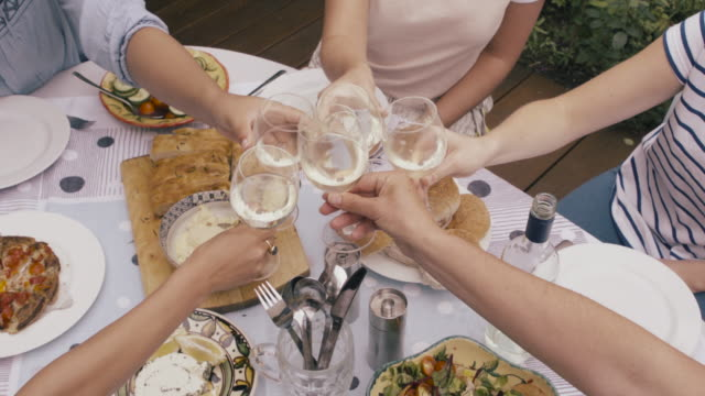 vídeos de stock, filmes e b-roll de high angle view of friends toasting with wineglasses sitting at table. - membro humano