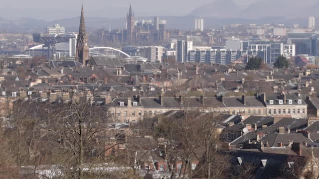high angle view of glasgow - zoom in stock videos & royalty-free footage