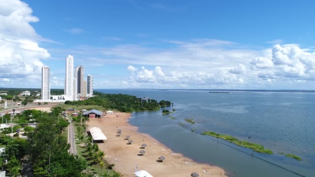 high angle view of graciosa beach in palmas, tocantins - tocantins stock videos and b-roll footage