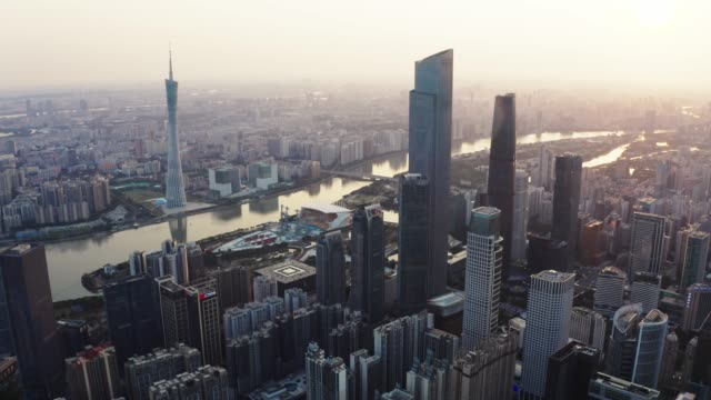 high angle view of guangzhou sunset - guangzhou stock videos & royalty-free footage
